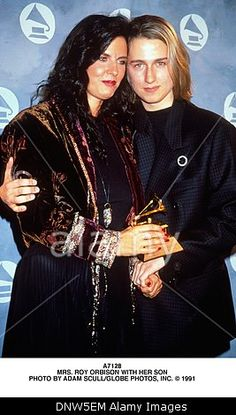 May 3, 2001 - A7128.MRS. ROY ORBISON WITH HER SON. ADAM SCULL/   1991(Credit Image: © Globe Photos/ZUMAPRESS.com) Stock Photo