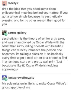 I love Oscar Wilde! Seriously, go read about him. Then read his poem Ravenna. He's amazing. #tattoofunny