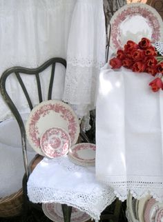 Cabin  Cottage~❥  My dishes!  And love the beautiful linens.