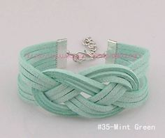 Mint sailor knot bracelet Infinity bracelet Colorful braided rope bracelet Sailor knot Cuff Unique handmade jewelry (40 Colors) GIFT049 by DelicateGift, $2.99