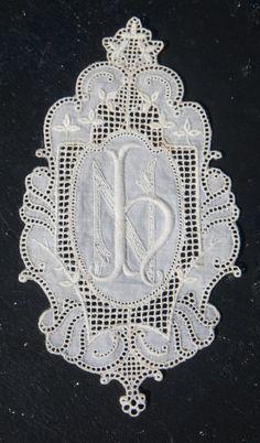 Applique lace patch with monogram