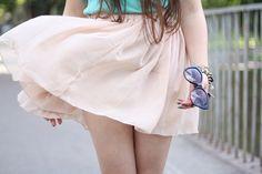 Pure Colored Elastic Waist Pleated Chiffon Skirt Oasap