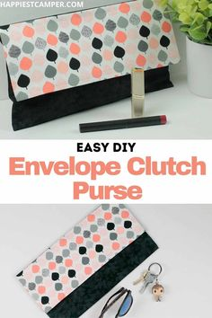 Leave your huge purse at home! We show you How To Make An Envelope Clutch Purse! This cute little clutch purse is perfect for those times when you don't want to carry the whole kit and caboodle. Plus, you can dress up or down to match your style and mood. I made a few of these to match some of my favorite outfits. Pick out some fun fabric and make yours! Easy sewing project. DIY Women's purse. How To Make An Envelope Clutch Purse Easy Sewing Projects, Sewing Projects For Beginners, Sewing Tutorials, Sewing Crafts, How To Make An Envelope, Diy Envelope, Envelope Clutch, Sew Gifts, Clutch Tutorial