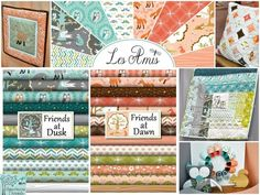Yippee!! Les Amis by Patty Sloniger for Michael Miller. Love the Teal Dusk Collection!! Though the Dawn Corals are a beautiful pairing... hmmm - mix and match?  (Hawthorne Threads)