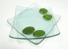 Green Olives Recycled Wine Bottle Glass Plate by TwiceBakedArts