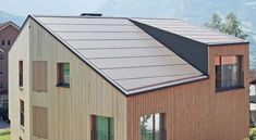 Roofing panel and sheet in fibre cement INTEGRAL PLAN by SWISSPEARL Italia Roof Architecture, Roof Types, Roof Panels, Roofing Systems, Cladding, Bauhaus, Facade, Solar, Shed