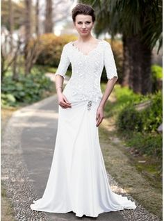 Trumpet/Mermaid V-neck Sweep Train Ruffle Beading Zipper Up Sleeves 1/2 Sleeves 2014 Brown Spring Fall General Plus Chiffon Lace Mother of the Bride Dress