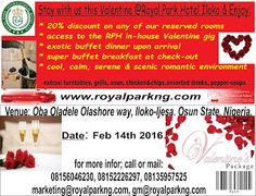 Deecube Travel and Business Concepts: 2016 Valentine Offer @ Royal Park Hotel lloko Ijes...
