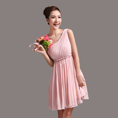 Lovely+pleated+one+shoulder+empire+waist+chiffon+bridesmaid+dress++US%2498.99