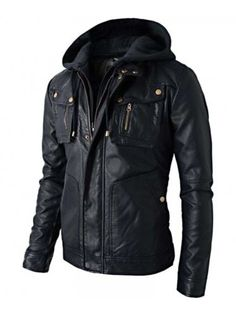981514403580f7 New Men s Motorcycle Brando Style Biker Real Leather Hoodie Jacket - Detach  Hood