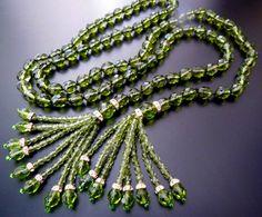"Joan Rivers Olive Fern Green Crystal Rhinestone Bead Lariat Tassel 48"" Necklace | eBay"