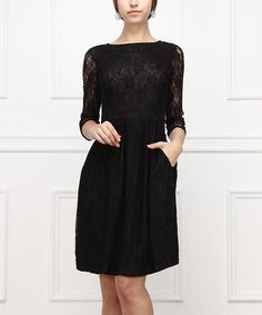 Love this Black Lace Fit & Flare Dress on #zulily! #zulilyfinds