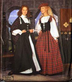 Renaissance Dress Patterns for Women Celtic Costume, Renaissance Costume, Renaissance Clothing, Traditional Scottish Clothing, Traditional Fashion, Traditional Dresses, Scottish Costume, Scottish Dress, Scottish Women