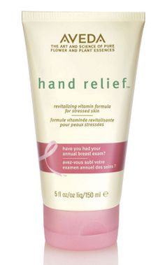 Aveda Hand Relief - BEST hand lotion on the planet. There is no alcohol in the ingredients so it won't dry your hands out. All you Bath and Body Works junkies - check your ingredients on the lotion, there's alcohol so your hands will stay dry!