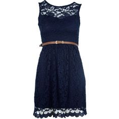 New Womens Navy Sweetheart Lace Belted Shift Ladies Formal Party Dress ❤ liked on Polyvore