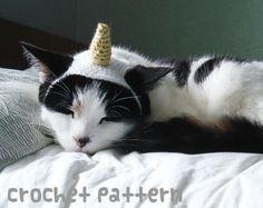 crochet pattern  unicorn horn pet hat  cat narwhal von xmoonbloom
