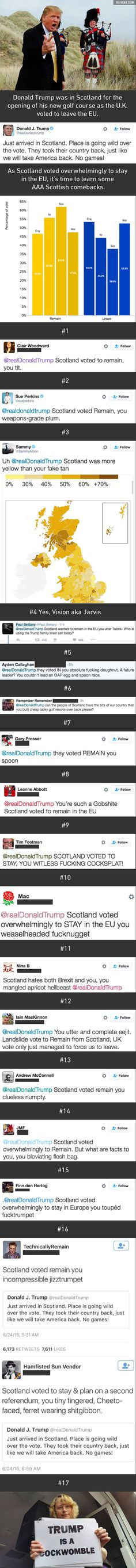 Scots Shower Trump With Glorious Scottish Insults After His Brexit Tweet