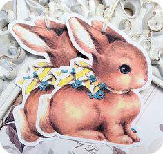 NEW  Bunny Rabbit EasterTags  Set of 6  by LittlePaperFarmhouse, $5.95