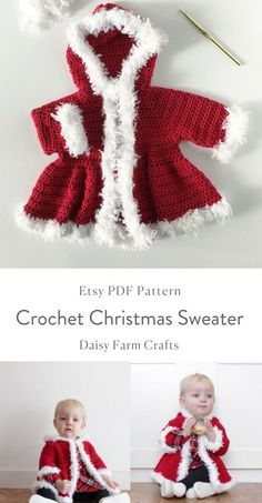 Crochet Patterns For Kids Crochet Christmas Sweater - Free PatternBaby Knitting Patterns Jumper Crochet Pattern - Click the link now.Christmas Crochet - Decorations, gifts and many more Festive free patterns -Crochet Christmas Sweater - Free Pattern Crochet Baby Blanket Beginner, Baby Girl Crochet, Crochet For Kids, Knit For Baby, Crochet Baby Stuff, Crochet Things, Crochet Baby Sweaters, Crochet Baby Clothes, Baby Knitting