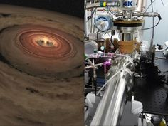 Researchers are brewing up icy, organic concoctions in the lab to mimic materials at the edge of our solar system and beyond. The lab is shown at right, and a very young solar system, with its swirling planet-forming disk is at left. Organic Molecules, Planetary System, Science Articles, Recent Discoveries, Lab Equipment, Our Solar System, Deep Space, Space Exploration, Science Nature