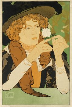 Salon des Cent by Georges de Feure (1868–1943) for the 5ME Exposition, 1894. Born in the Netherlands, de Feure became prominent in the Paris Art Nouveau scene as an illustrator, painter & poster designer. His Salon des Cent design is similar in composition to Eugene Grasset's, both of which show a woman contemplating a flower | Swann Auctions, Vintage Posters, 1/25