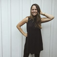 """""""Raquel"""" Suede Tank Dress, Black from Carly Jean for $42.00"""