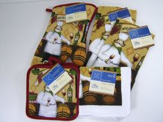 Kitchen Fat #Chef Wine Bar 7 piece Cook Set #OvenMitt Pot Holders Dish Cloths Towels by Home Collection