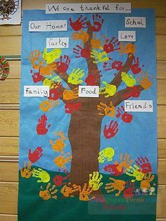 Thankful Tree with student handprints as the leaves! But probably doing paper cut out handprints for less mess Thanksgiving Art, Thanksgiving Preschool, Fall Preschool, Preschool Crafts, Kindergarten Activities, Classroom Activities, Classroom Ideas, November Crafts, Thankful Tree