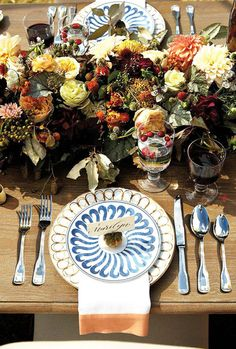 Try mixing patterns: http://www.stylemepretty.com/living/2014/11/14/30-ideas-to-dress-up-your-thanksgiving-table/