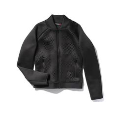 Reebok's bomber-style cardio jacket is outfitted with a generous mesh panel in the back for major breathability. A convenient sleeve pocket on the left arm hold
