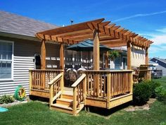 The pergola kits are the easiest and quickest way to build a garden pergola. There are lots of do it yourself pergola kits available to you so that anyone could easily put them together to construct a new structure at their backyard. Diy Pergola, Free Pergola Plans, Free Standing Pergola, Building A Pergola, Small Pergola, Pergola Canopy, Pergola Attached To House, Pergola Swing, Deck With Pergola