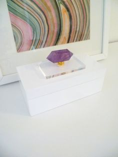 white glossy lacquer box for coffee table decor or dresser box with acrylic block and double terminated amethyst wand on Etsy, $55.57