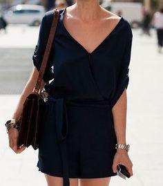 Minimal fashion   Chic summer mini dress, leather handbag