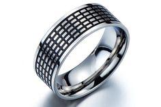 Wide Band Ring/Man Wedding Band Ring/Mens Spinner Ring/Cigar Band Ring/Mens Rings for Him/Mens Ring Steel/Black Mens Ring/Cool Ring