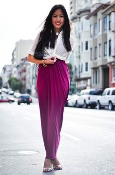 how to wear a long skirt or maxi dress