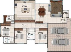 Planta de casa térrea com 3 quartos, 2 vagas na garagem e cozinha espaçosa New Years Eve Party, Floor Plans, Pictures, House, Vagas, Sim, Style, Luxury Houses, House Building