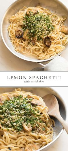 Could You Eat Pizza With Sort Two Diabetic Issues? Lemon Spaghetti With Artichokes Is A Fresh And Flavorful Spring And Summer Infused Pasta Thats Full Of Flavor. Best Pasta Recipes, Spaghetti Recipes, Lunch Recipes, Easy Dinner Recipes, Vegetarian Recipes, Easy Meals, Healthy Recipes, Easy Recipes, Potato Recipes