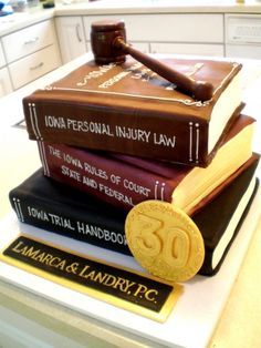Stacked book cake with chocolate gavel