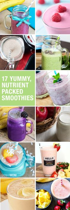 17 Yummy, Nutrient-Packed Smoothies You have to try out these smoothies! Not only are they packed with nutrients and healthy for you, but they're perfect to whip up on a busy morning! Breakfast Smoothies, Healthy Smoothies, Healthy Drinks, Healthy Snacks, Healthy Recipes, Lean Recipes, Skinny Recipes, Fruit Smoothies, Healthy Eats