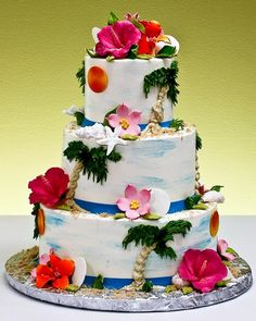 Three tier white and blue Hawiian wedding cake decorated with hand painted palm trees, sea shells and an air brushed blue sky. Themed Wedding Cakes, Wedding Cake Decorations, Themed Cakes, Luau Cakes, Beach Cakes, Hawaiian Cakes, Hawaiian Theme, Pretty Cakes, Beautiful Cakes