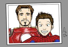 #MARVEL  Tony Stark and his Spidey son.