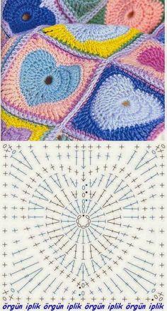Su Crochet: variedad de corazones a crochet, #crochet, free chart, granny square, heart pattern, #haken, gratis schema, hart, deken, sprei, veel mooie schema's, deken, sprei, haakpatroon