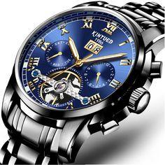 Men's Watches New Fashion Skeleton Black Steel Men Male Clock Shenhua Brand Hollow Cool Stylish Design Classic Mechanical Wrist Dress Watch