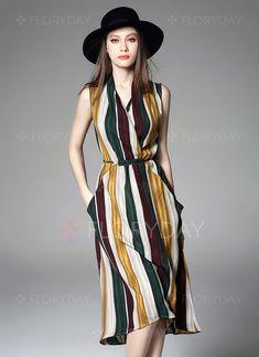 Vestidos de - $85.16 - Seda Linho Listra Sem magas Altura do Joelho Informal Vestidos de (1955099860)