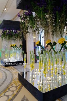 Floor to Ceiling Hanging Orchids + Submerged Blooms - Jeff Leatham Deco Floral, Arte Floral, Floral Design, Hotel Flower Arrangements, Hanging Orchid, Hanging Flowers, Jeff Leatham, Hotel Flowers, Corporate Flowers