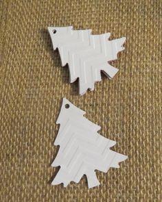 Embossed Chevron Gift Tags - Christmas Tree Gift Tags - Set of 6