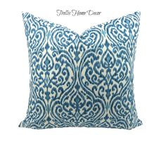 Blue and Ivory Pillow Cover, Ikat Design, Fabric by Home Seasons, Toss Pillow, Hidden Zipper, 18x18 inches