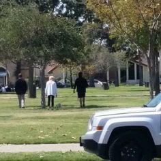 Steve Perry walking dog
