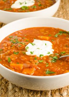 This spicy tomato and lentil soup, has heaps of flavour, tastes amazing and is nice and filling. A yummy complete meal in a bowl.