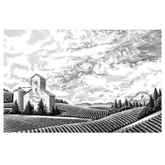 scratchboard landscapes and buildings stoller winery